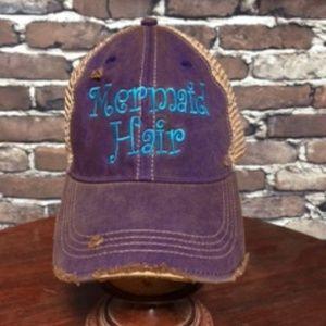 New Mermaid Hair Distressed Trucker Cap in Women